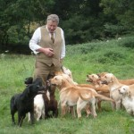Jack Peckitt surrounded by gundogs
